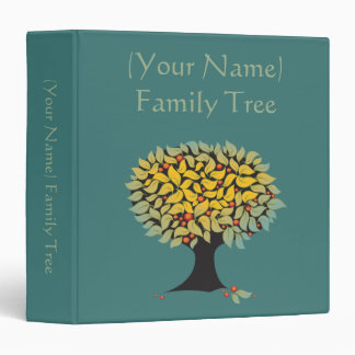 Customizable Family Tree Blue 3 Ring Binder