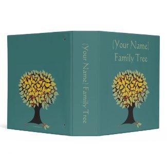 Customizable Family Tree Blue Binder binder