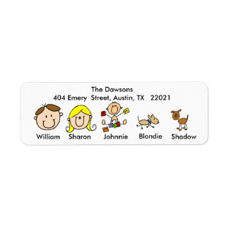 Customizable Family With 2 Dogs Address Labels