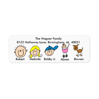 Customizable Family With Dog Address Labels