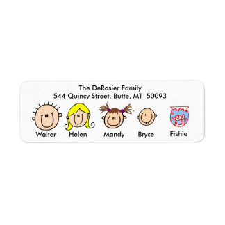 Customizable Family With Fish Address Labels