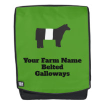 Customizable Farm Name Belted Galloway Backpack