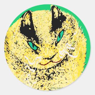 Customizable Fat Cat Classic Round Sticker