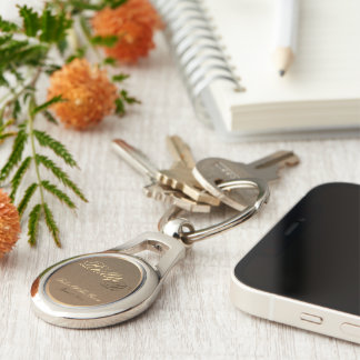 Customizable Father of the Groom Oval Keychain