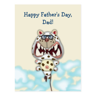 Customizable Father's Day Card Funny Cat Balloon