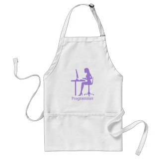 Customizable Female Silhouette Programmer Adult Apron