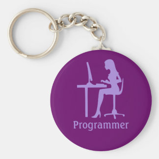 Customizable Female Silhouette Programmer Keychain