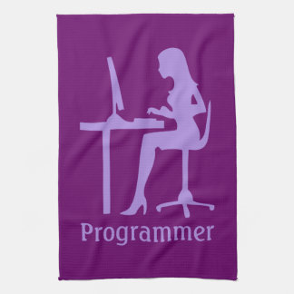 Customizable Female Silhouette Programmer Kitchen Towels