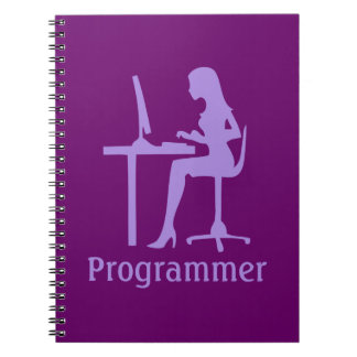 Customizable Female Silhouette Programmer Spiral Notebook