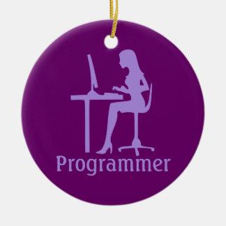 Customizable Female Silhouette Programmer Ornament