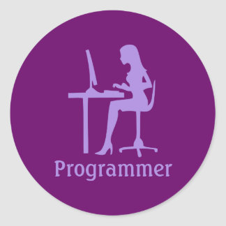 Customizable Female Silhouette Programmer Stickers