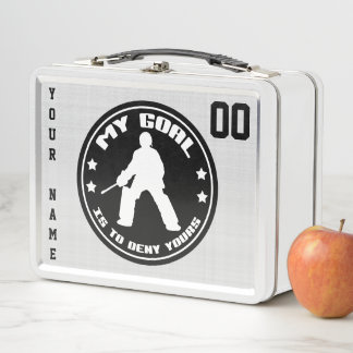 Customizable Field Hockey Goalie Lunch Box, Black Metal Lunch Box