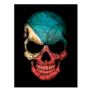 Customizable Filipino Flag Skull Postcard