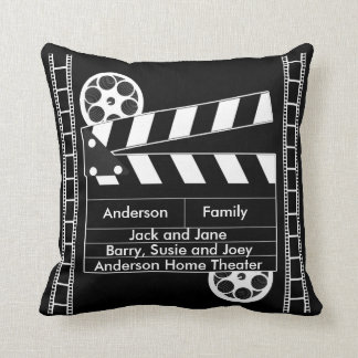 Customizable Film Clapper for Home Theater Throw Pillow