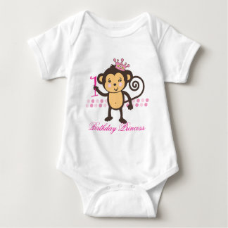 Customizable First Birthday Monkey Princess Shirt
