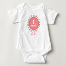 Customizable First Month Baby Bodysuit