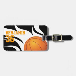 Customizable Flaming Basketball Black and White Bag Tag