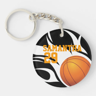 Customizable Flaming Basketball Black and White Acrylic Key Chains