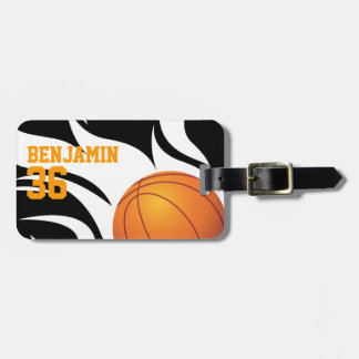 Customizable Flaming Basketball Black and White Luggage Tags