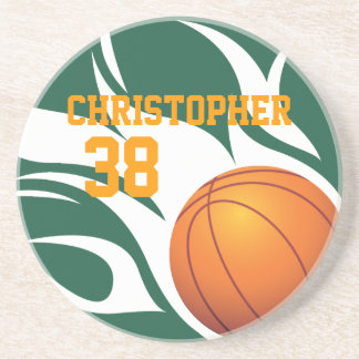Customizable Flaming Basketball Green and White Coaster