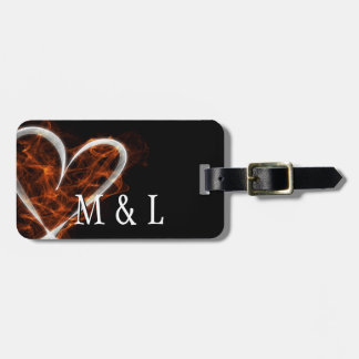 Customizable Flaming Heart Bag Tag