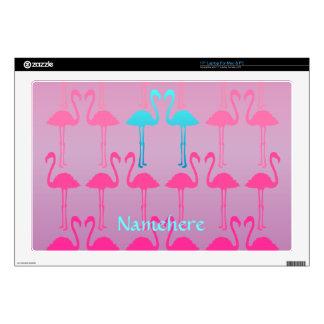 "Customizable: Flamingo two 17"" Laptop Decals"