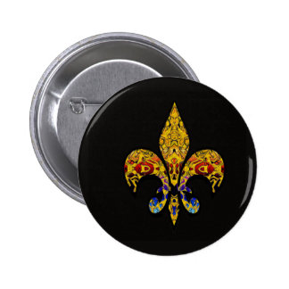 customizable Fleur-de-Lis 2 Inch Round Button