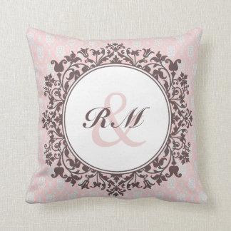 Customizable Floral Damask Pillow_Pink Throw Pillow