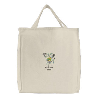 Customizable floral embroidered tote bag