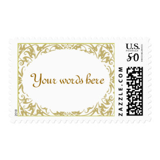 Customizable Floral Frame Stamp White