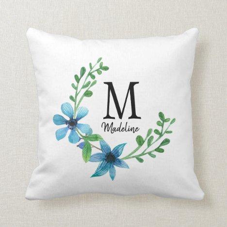 Customizable Floral Monogram Pretty Blue Flowers Throw Pillow
