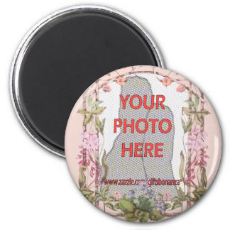 Customizable floral photograph magnet
