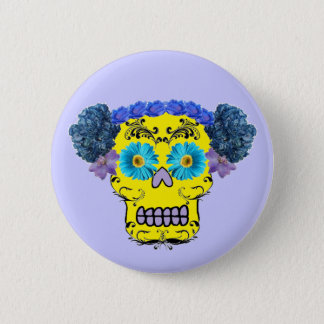 Customizable Floral Sugar Skull Pinback Button