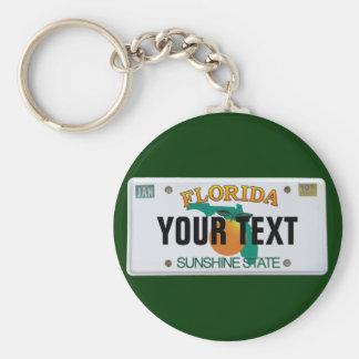 (Customizable) Florida License Plate Basic Round Button Keychain