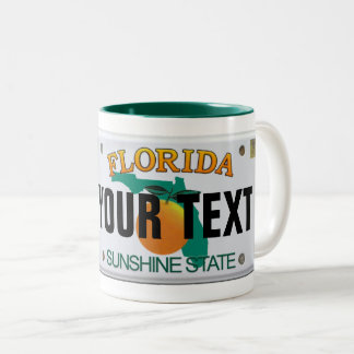 (Customizable) Florida License Plate Two-Tone Coffee Mug