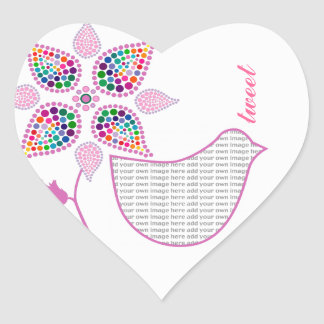Customizable: Flower bird Heart Sticker