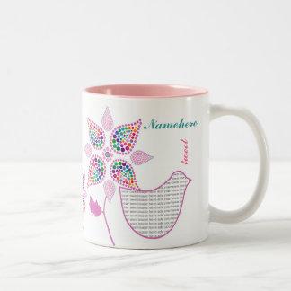 Customizable: Flower bird Two-Tone Coffee Mug