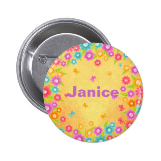 Customizable Flower Butterfly Name 2 Inch Round Button