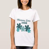 Customizable Flower Mommy Since T-shirt, Teal T-Shirt