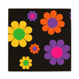 Customizable Flower Power Wood Coaster