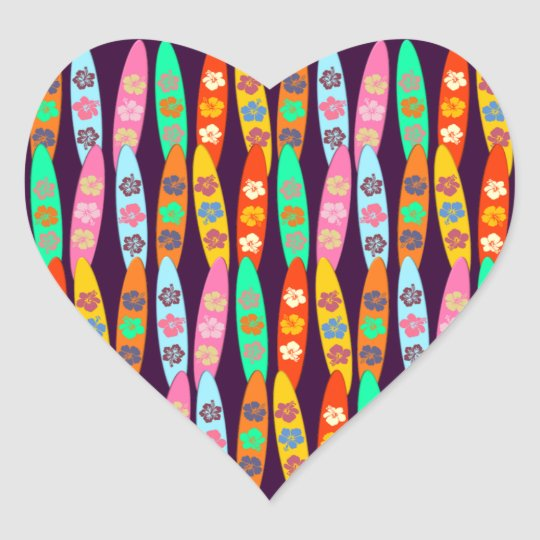 Customizable Flowered Surfboards Heart Sticker
