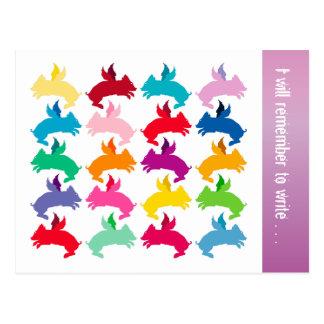Customizable: Flying piggies Postcard