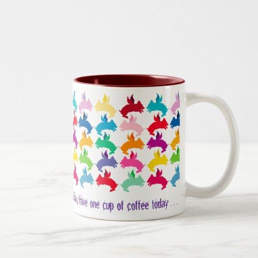 Customizable: Flying piggies Two-Tone Coffee Mug