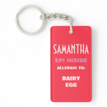 Customizable Food Allergy Alert Kids Personalized Keychain