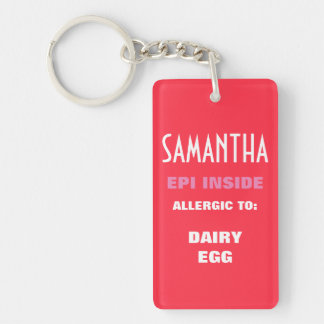 Customizable Food Allergy Alert Kids Personalized Keychain