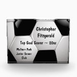 """Customizable Football Soccer Ball Award<br><div class=""""desc"""">Soccer sports design with a close up image of a soccer ball, fully customizable with your own name or text. Perfect for the soccer player, football fan or soccer coach. Other color combinations are available in our store and we welcome custom requests, just contact us through our GiftsBonanza store prior...</div>"""