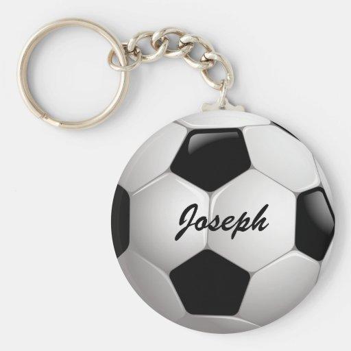 Customizable Football Soccer Ball Basic Round Button Keychain