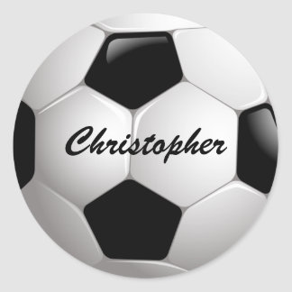 Customizable Football Soccer Ball Classic Round Sticker