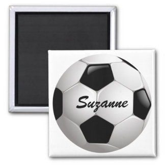 Customizable Football Soccer Ball 2 Inch Square Magnet