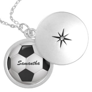 Customizable Football Soccer Ball Round Locket Necklace